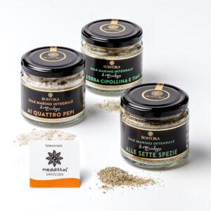 Sale aromatizzato timo erba cipollina pepi spezie
